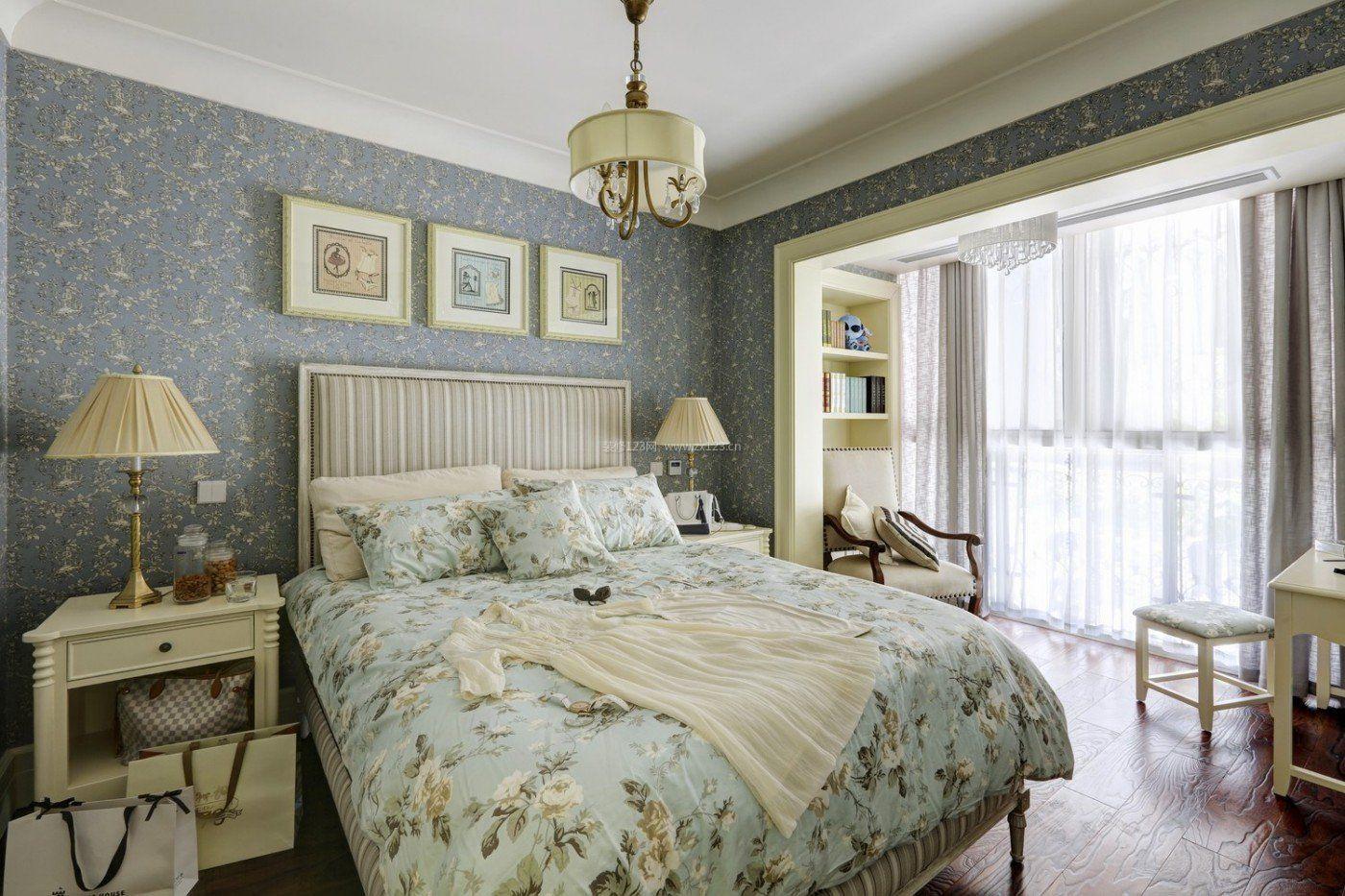 家庭卧室软装饰壁纸效果图_装修123效果图