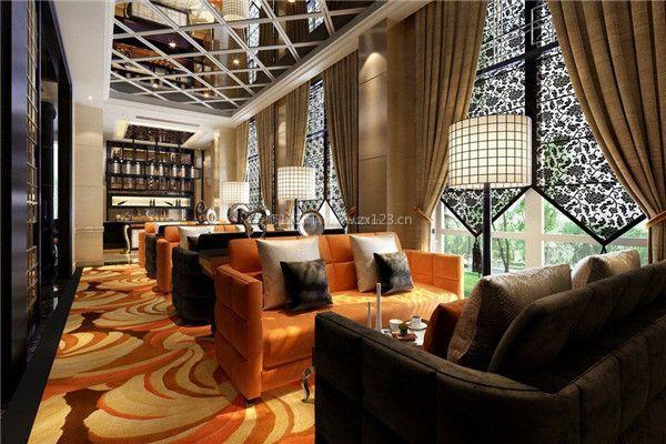 高档咖啡厅吊顶装修设计效果图图片