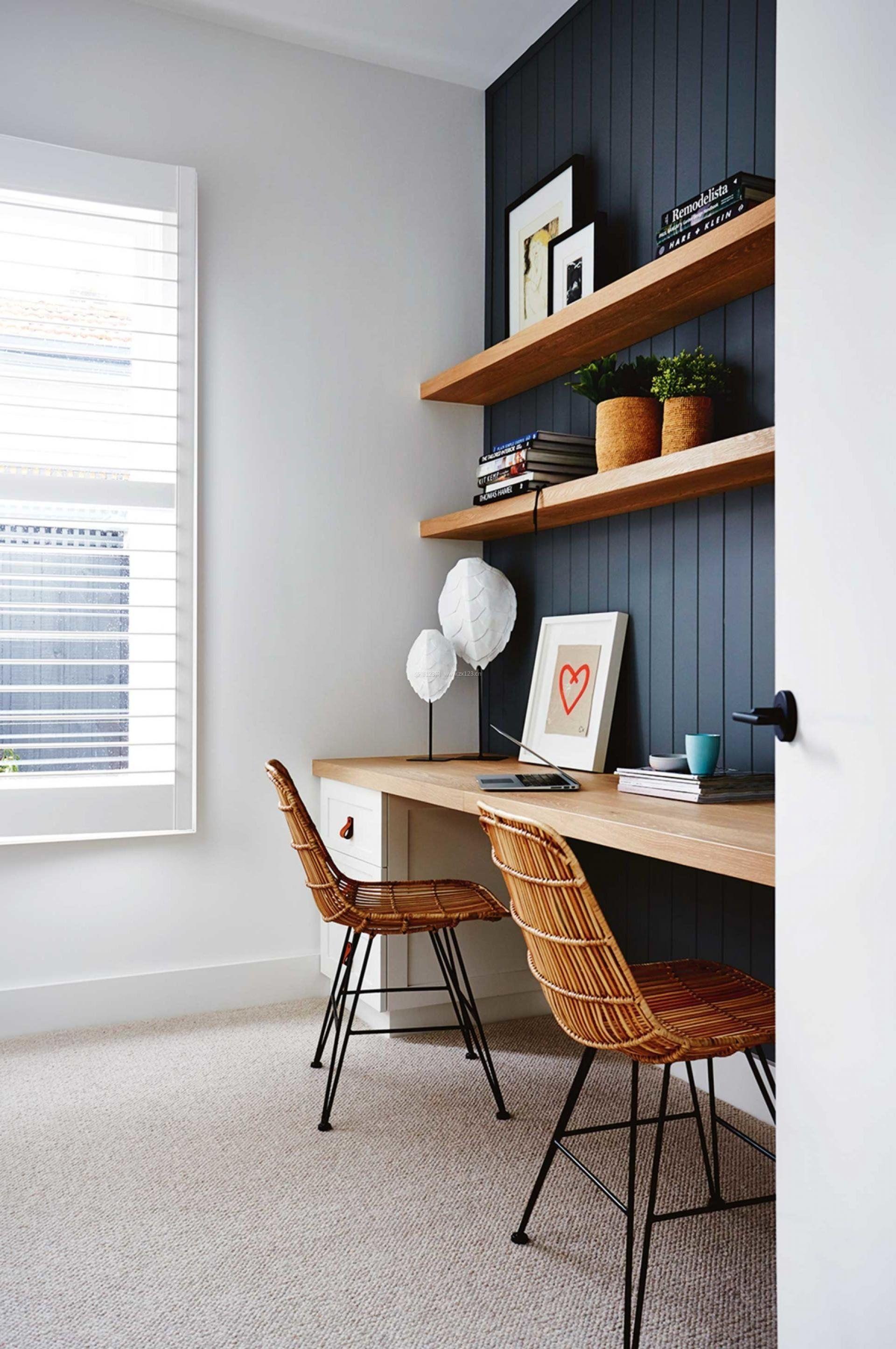 小户型室内书桌书柜一体图