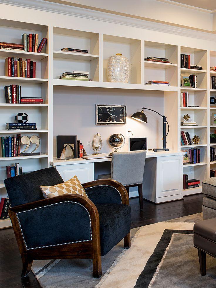 室内家具书桌书柜一体图