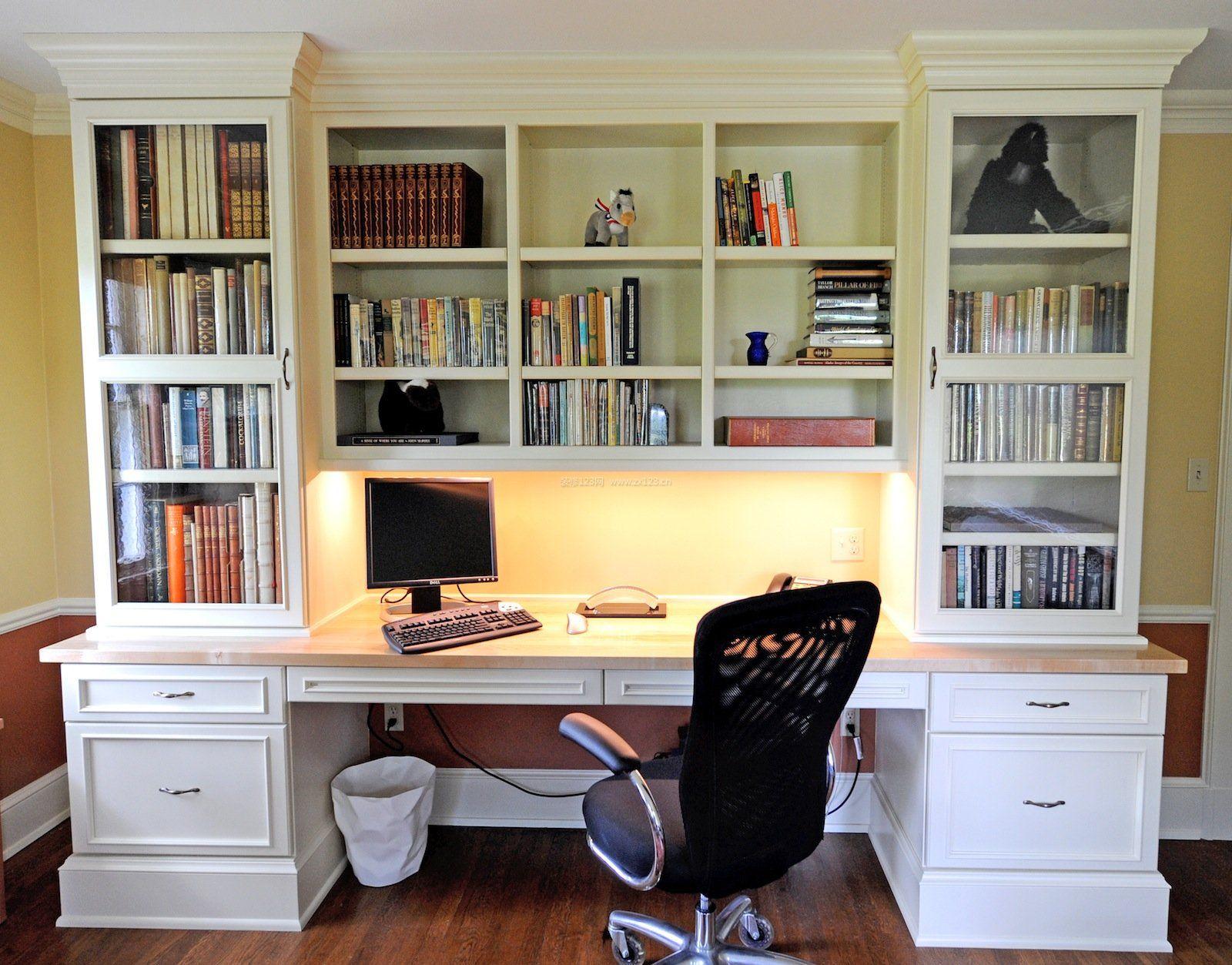 简欧风格书桌书柜一体图图片