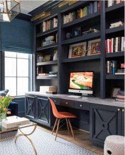 新中式古典书房书桌书柜一体设计装修图片图片