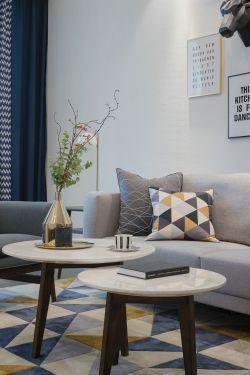 2017现代北欧风格家装客厅圆茶几效果图