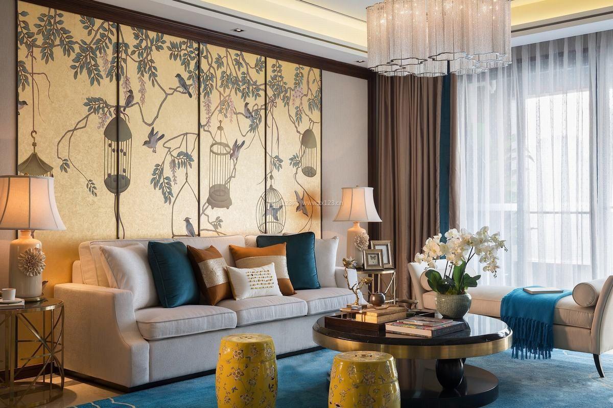 2017新中式风格客厅沙发背景墙装修效果高清图片图片