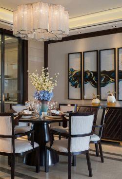 2017新中式餐厅实木圆餐桌装修设计图