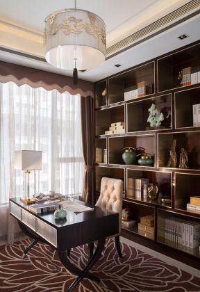 2017新中式书房装修效果图 书房地毯效果图图片