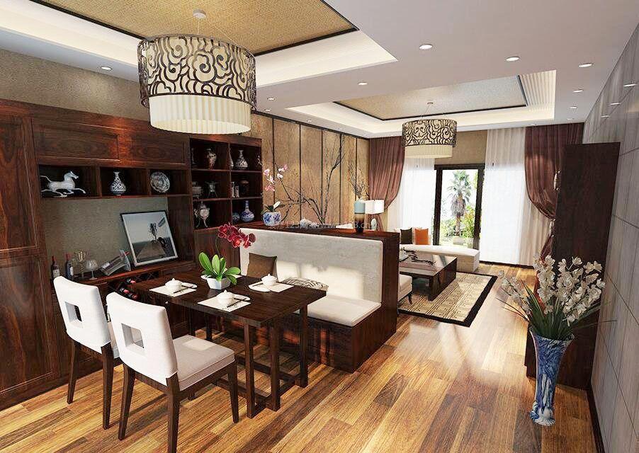 中式客厅饭厅吊顶灯一体装修图