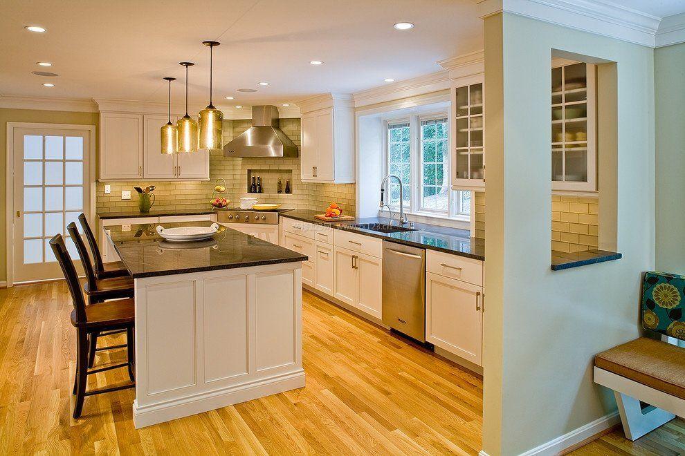 家庭整体厨房中岛橱柜图片_装修123效果图