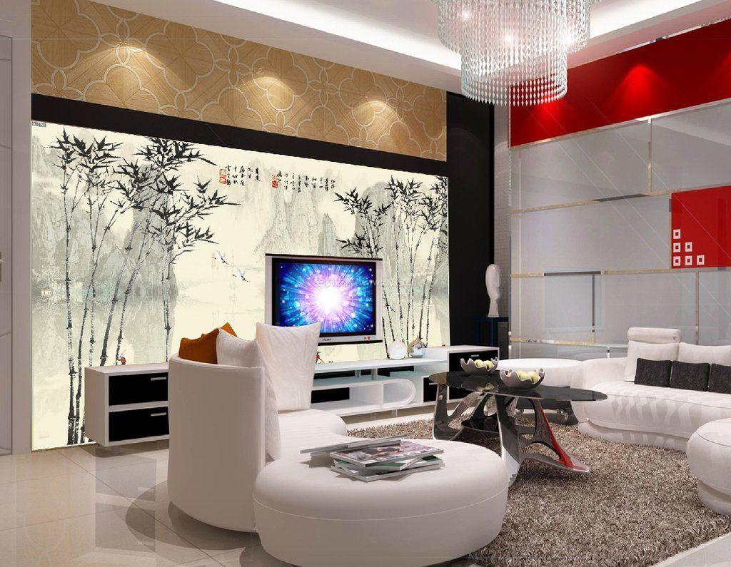 电视背景墙手绘效果图片2017