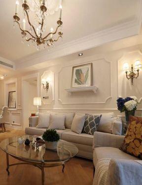 简美式风格客厅玻璃茶几装饰装修效果图片-美式风格装修效果图片图片