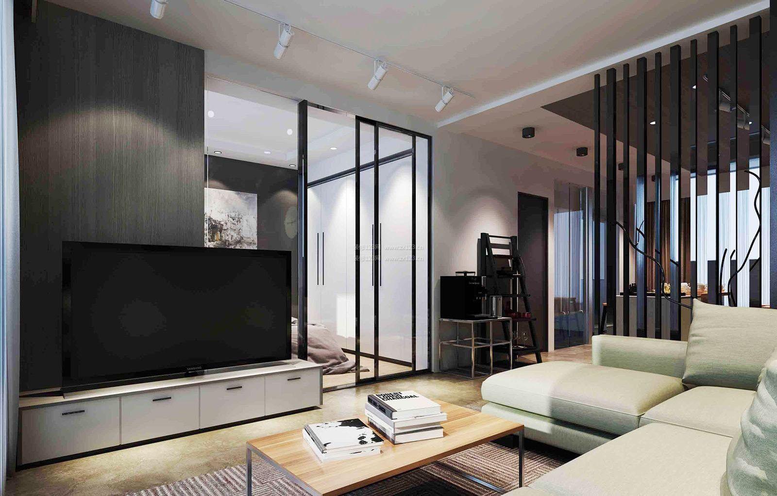 客厅卧室简约隔断玻璃移动门装修效果图