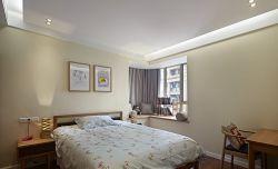 简约室内婚房卧室转角飘窗设计效果图_装修123效果图图片