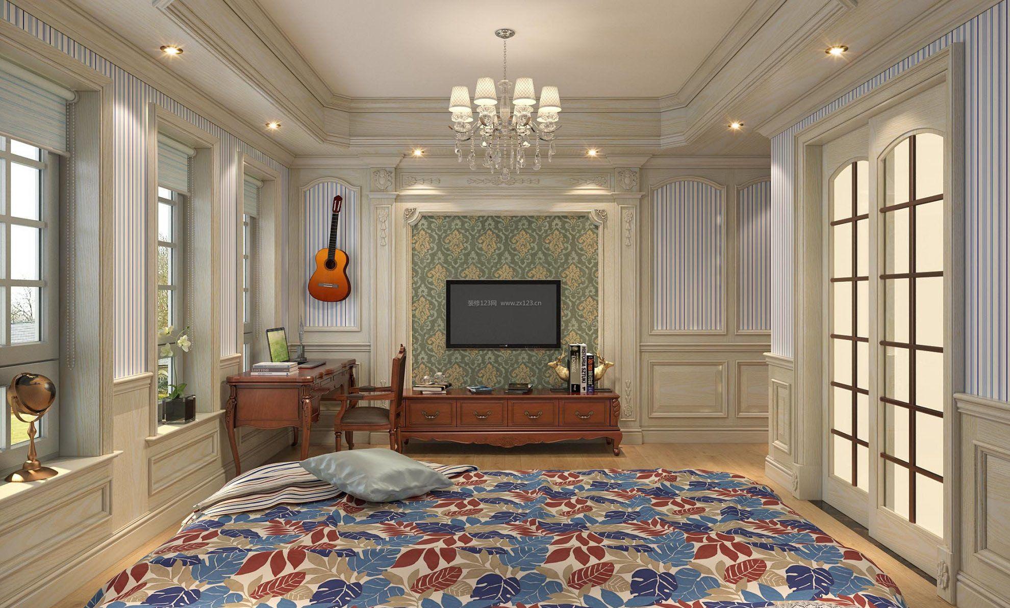 小别墅客厅设计白色护墙板效果图