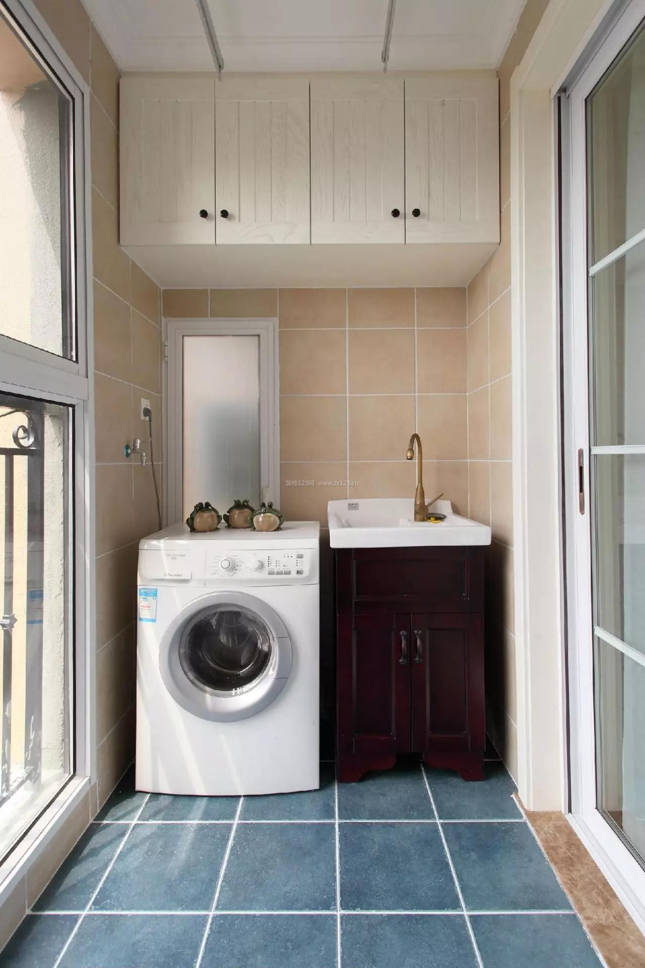 2017美式家居阳台洗衣机柜子设计装修效果图图片