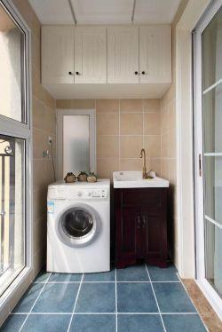 2017美式家居阳台洗衣机柜子设计装修效果图