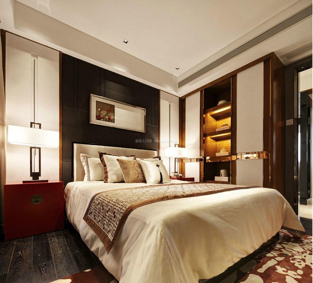 2017新中式主卧室床头柜装修效果图片图片