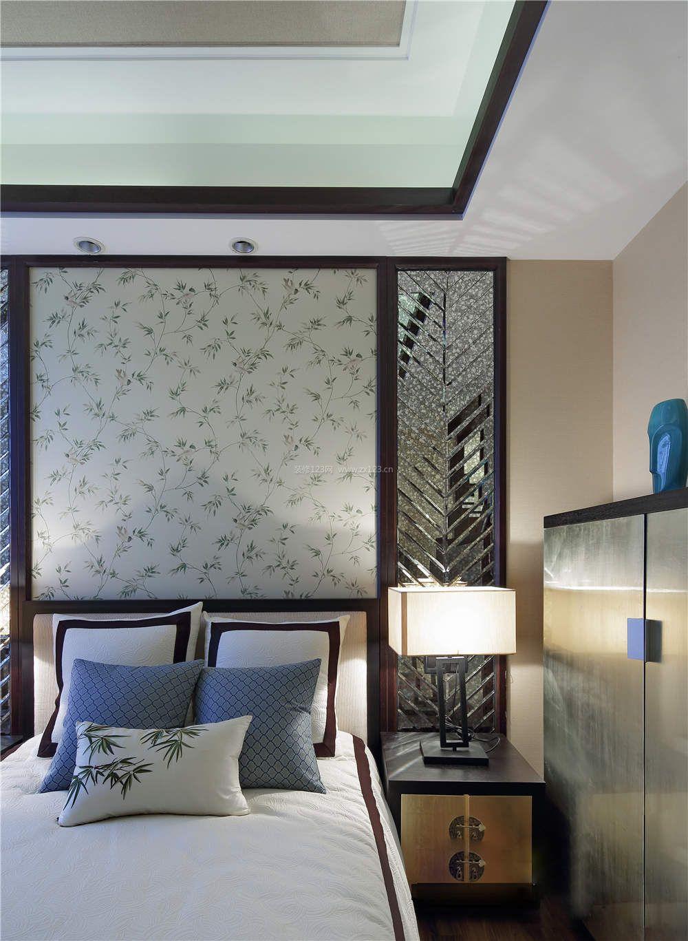 2017新中式卧室床头壁纸背景墙装修效果图片图片