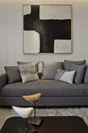 2017简约现代客厅效果图 客厅沙发背景装饰画图片