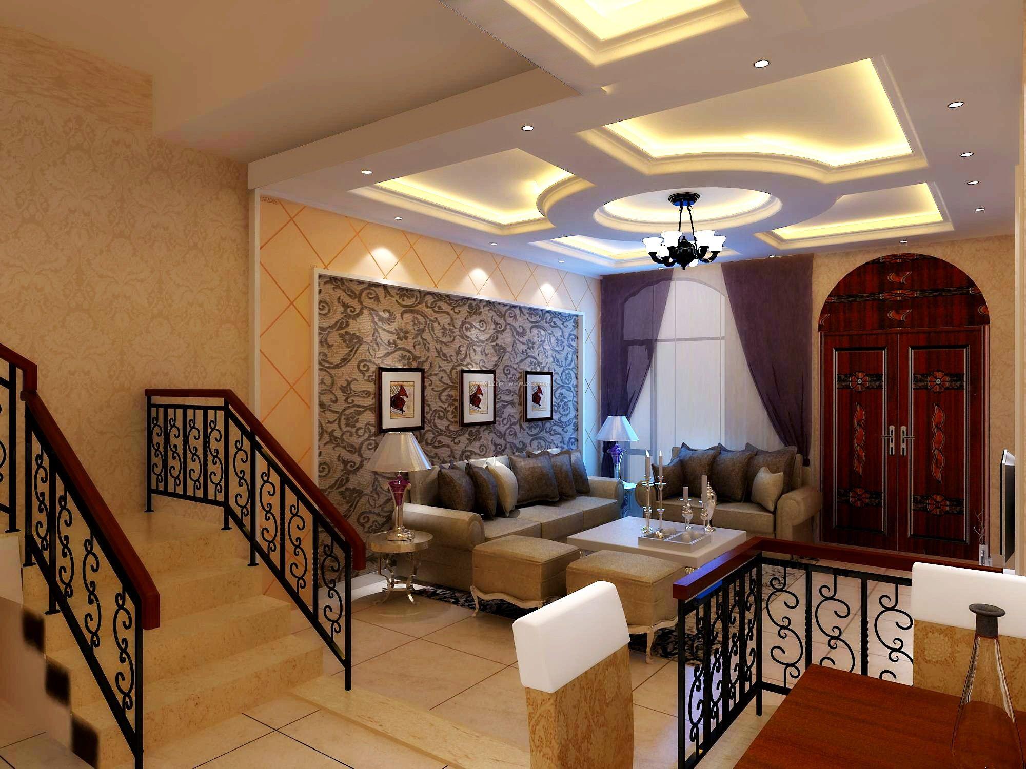 现代简欧别墅客厅吊顶造型装修效果图
