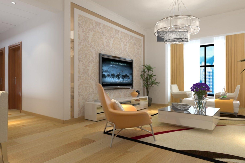 2017现代简约风格客厅电视背景墙壁纸装修效果图片