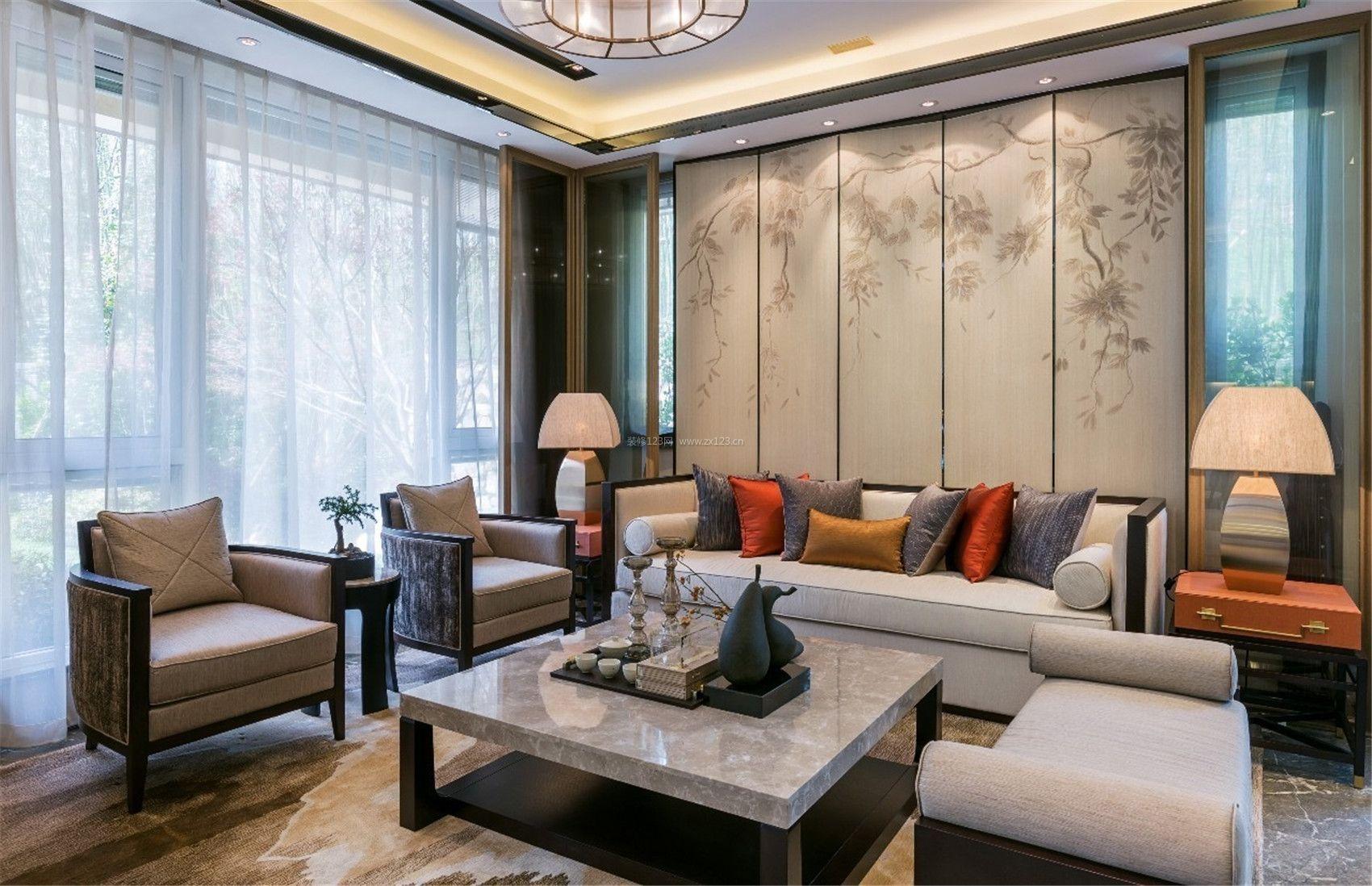 2017新中式客厅沙发背景墙装修效果欣赏图片图片