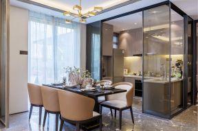 新中式家居装修效果图 2017开放式厨房玻璃隔断墙图片