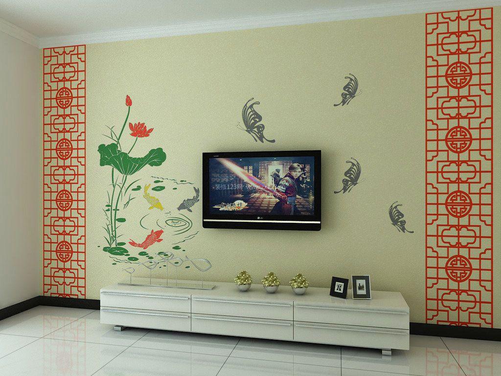 简中式硅藻泥电视背景墙装修效果图大全图片