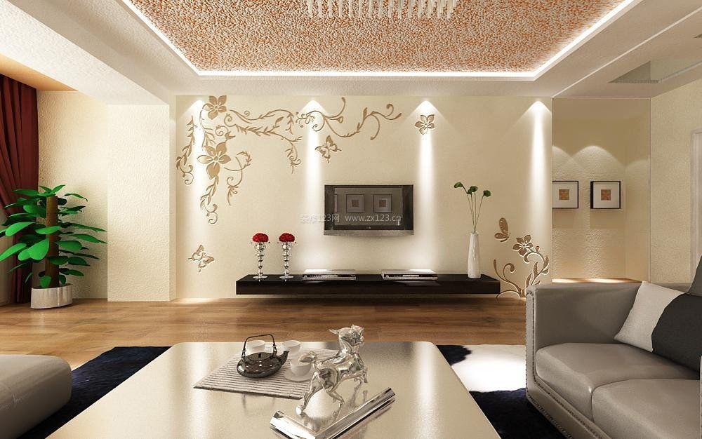 硅藻泥电视背景墙壁纸装修效果图大全