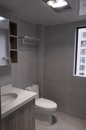 2017小户型卫生间装修效果图 灰色瓷砖卫生间效果图