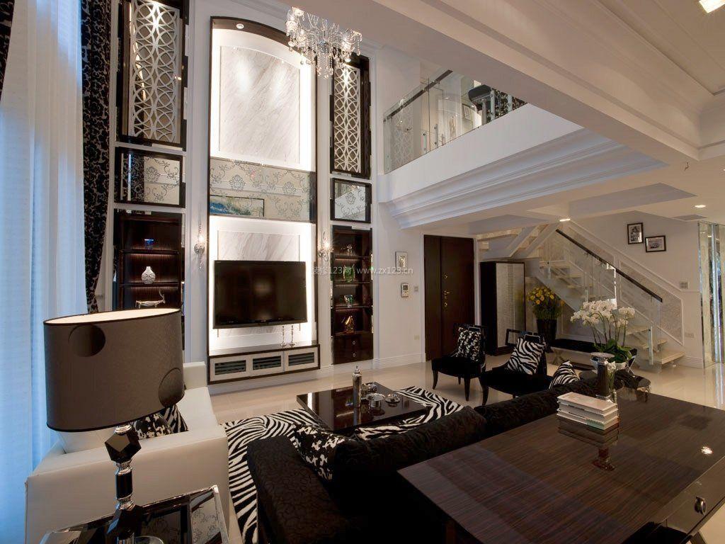 欧式中空别墅电视墙造型装修效果图