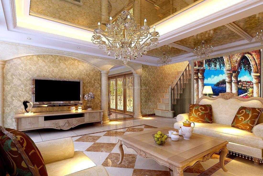 欧式中空别墅地板砖装修效果图图片