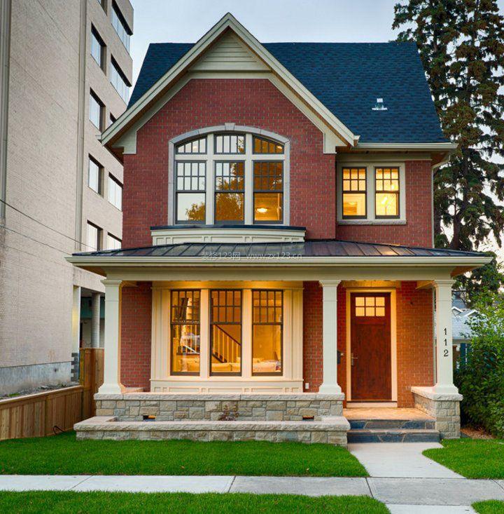 两层效果小红色外墙砖别墅复式_装修123别墅图片夏威夷风景图片图片