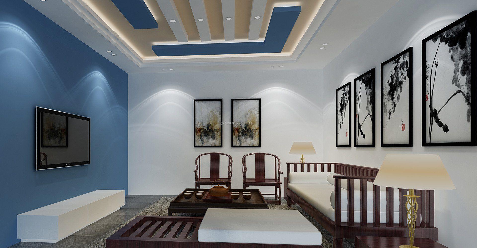 简约中式客厅灯具设计_装修123效果图