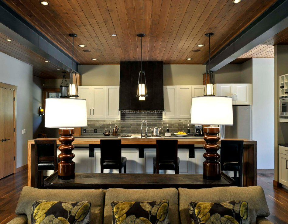 厨房灯池实木吊顶装修效果图
