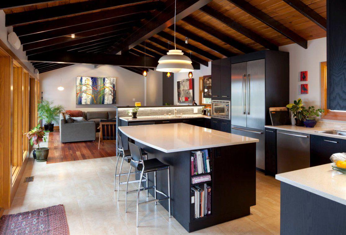 木屋别墅厨房灯池吊顶装修效果图图片