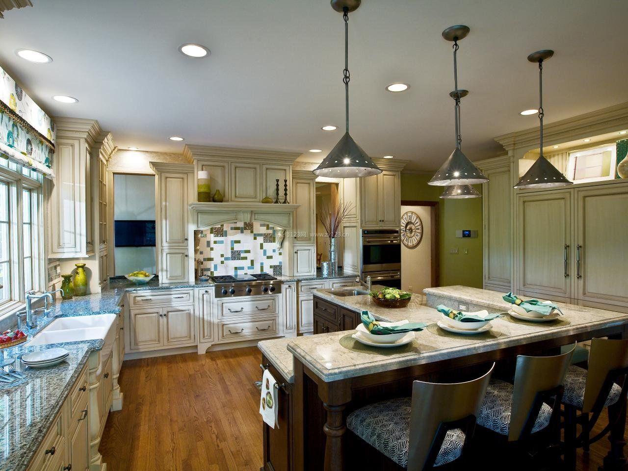 美式厨房灯池吊顶造型装修效果图