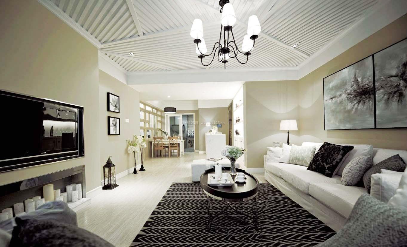 90平方米房屋客厅精美吊顶装修效果图大全