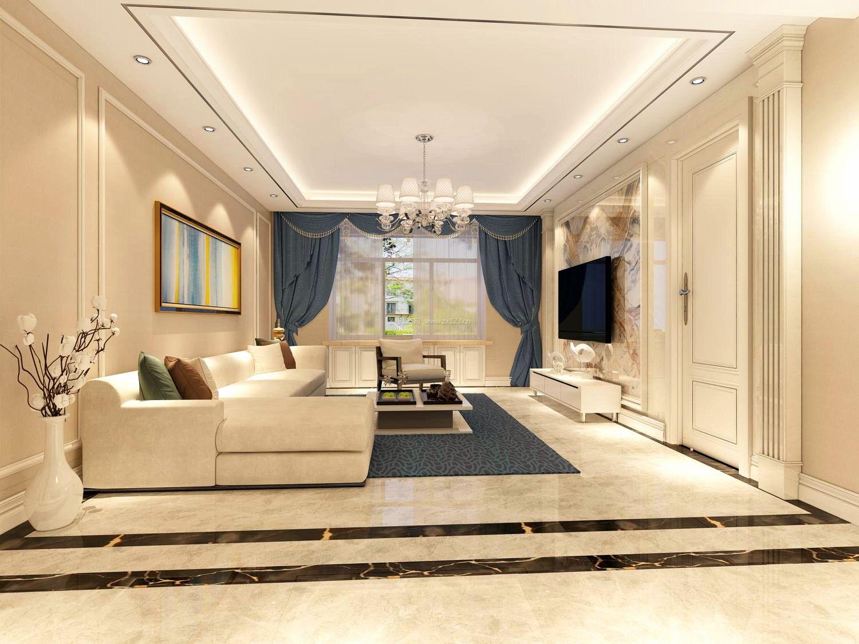 2017简欧客厅转角沙发装修效果图片欣赏_装修123效果图