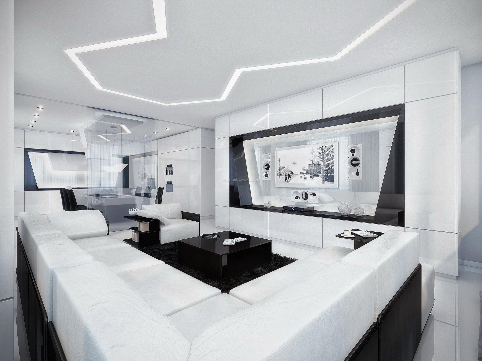 现代简约整套家装电视墙创意效果图