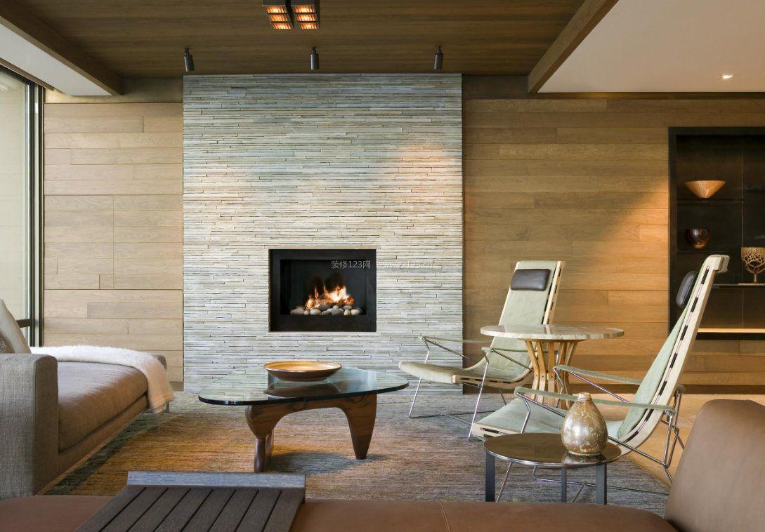 现代简约整套家装原木背景墙效果图