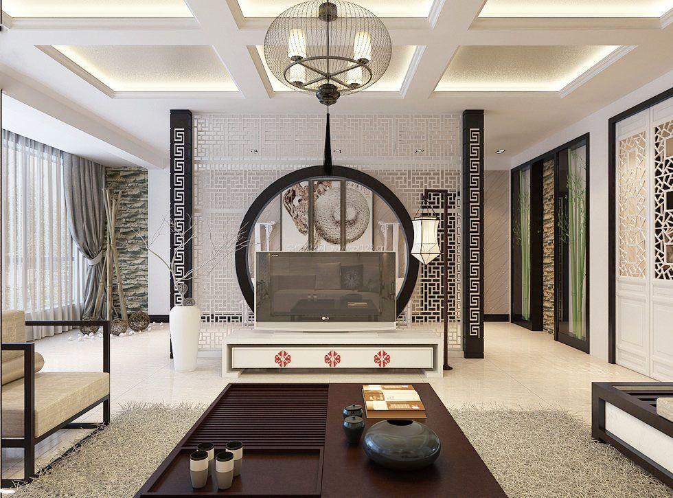 新中式影视墙镂空雕花隔断图片