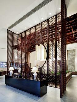新中式玄关镂空雕花整体隔断图片