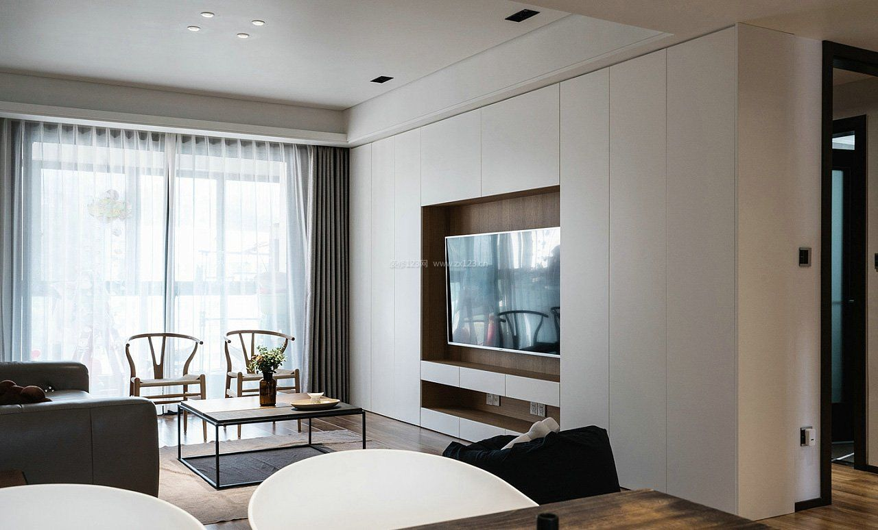 拓者设计吧现代客厅电视墙装修效果图图片