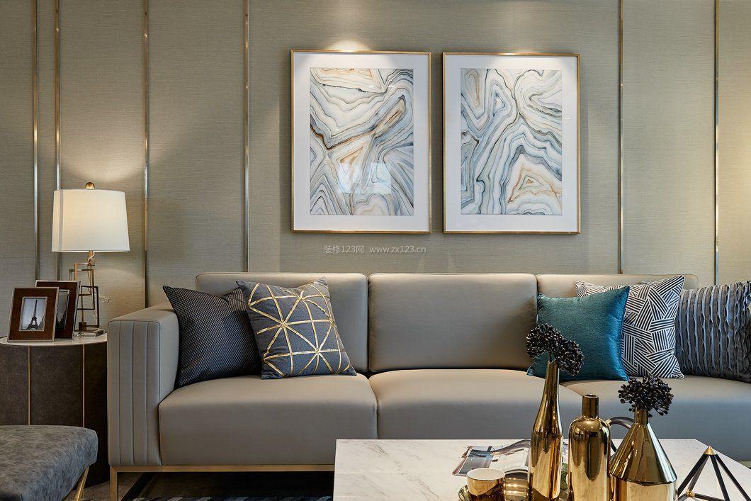 拓者设计吧现代沙发背景墙装饰画装修效果图