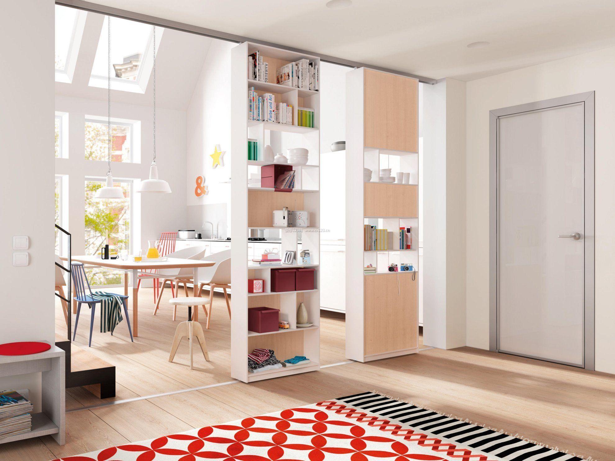 小户型客厅玄关隔断书柜设计图片