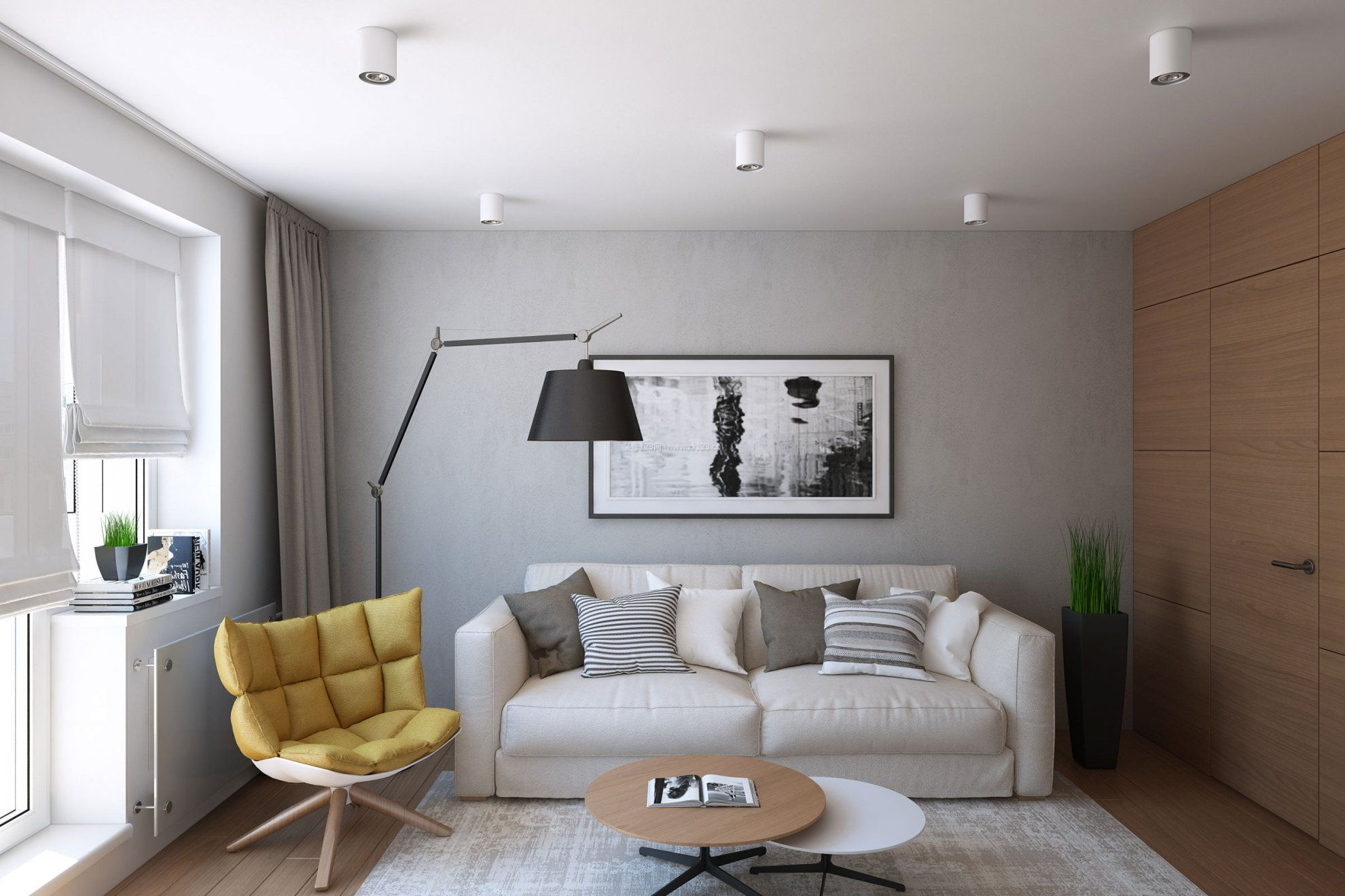 40平米单身公寓落地灯装修图片