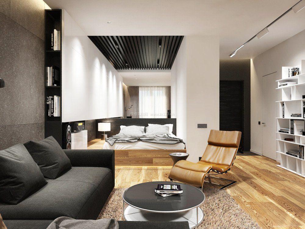 40平米单身公寓客厅圆茶几装修图片