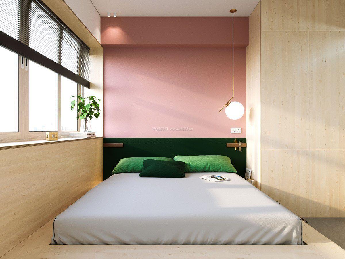 40平米单身公寓卧室粉色背景装修图片
