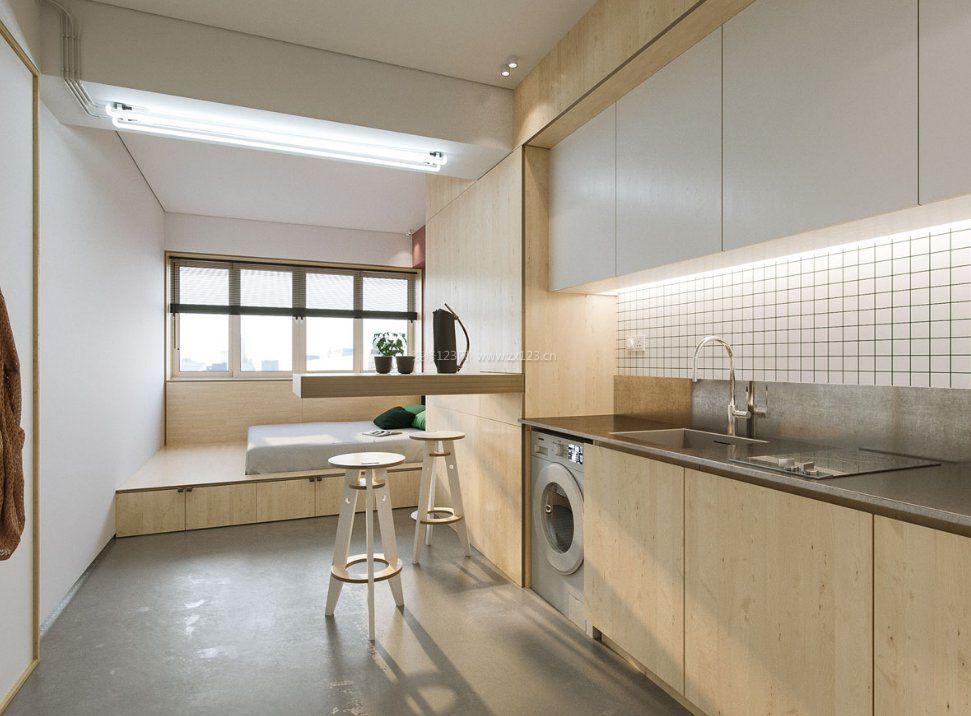 40平米单身公寓创意隐形吧台装修图片