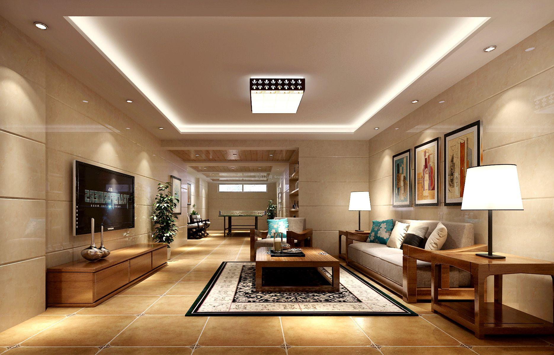 2017家庭别墅客厅家居设计图 瓷砖电视背景墙装修效果图片